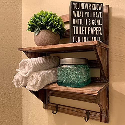 RHF Rustic Wall Shelf, Wood Wall Shelves, Hanging Shelf Organizer Rack, Decorative Floating Shelves for Living Room, Bathroom, Kitchen, Office - 2 Hooks 2-Tier (Brown)