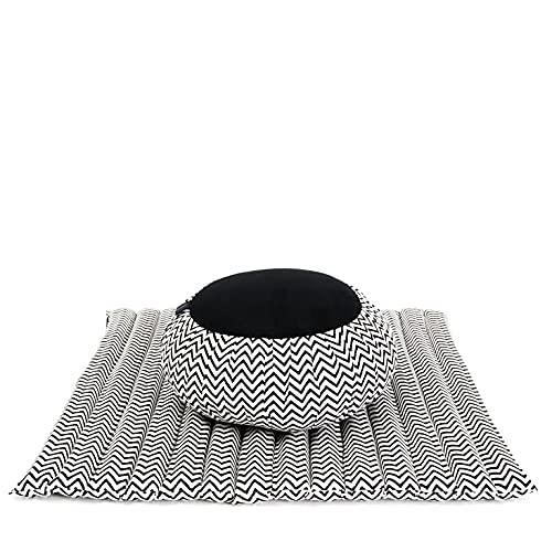 LEEWADEE Meditation Cushion Set: Round Zafu Pillow and Large Square Zabuton Mat for Floor Seating Eco-Friendly Organic and Natural, Kapok