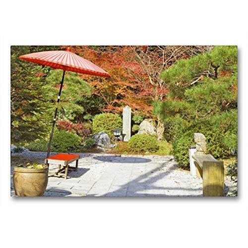 Premium textiel canvas 90 cm x 60 cm dwars, een oase van rust - een Japanse theegaart in de herfst met rode zonnescherm en kleine zitbank | Otsu City, Shiga, Japan (CALVENDO Kunst);CALVENDO Kunst