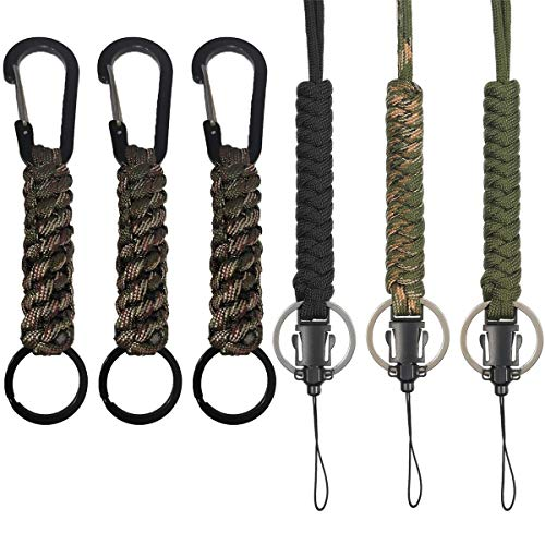 Gzingen 6PCS Military Survival Paracord Keychains with Carabiner Necklace Rope Keychain Utility Tactical Keychain Lanyard Adjustable Parachute Cord Neck Strap Quick Release for Outdoor Hiking Camping