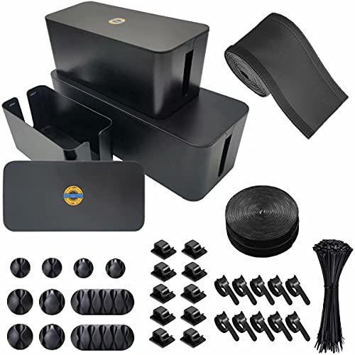 Caja de Administración de Cables, 3 juegos, EndlesShine Soporte de Cable de Cubierta Eléctrica grande, mediano y pequeño para...
