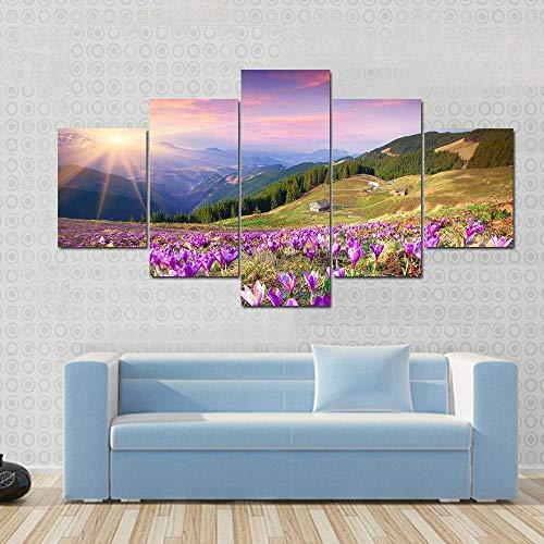 Cuadros Modernos Impresión De Imagen Artística Digitalizada Lienzo Decorativo Para Salón O Dormitorio Flor De Azafrán En Primavera En Las Montañas Estilo Abstracto Arte 5 Piezas 150X80Cm Xxl