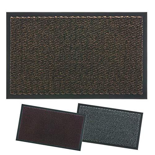 Lipari - Felpudo para Entrada de casa, Antideslizante, para Interior de Exterior, Las alfombras de Secado se adhieren al Suelo, no se doblan los Modernos (40X70, Marrone)