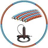 YockTec Hula Hoop 1,2 kg, Lesté Hula Hoop Pliable pour Adultes pour La Perte De Poids, Un Cerceau Détachable De 6 Pièces pour Le Fitness/Dance/Entraînement Jump Skipping Rope