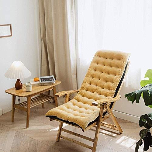 Mirui - Cojín reclinable para silla de jardín, cojín de respaldo alto con lazos para silla de jardín en casa, espuma suave lavable (color: marrón)