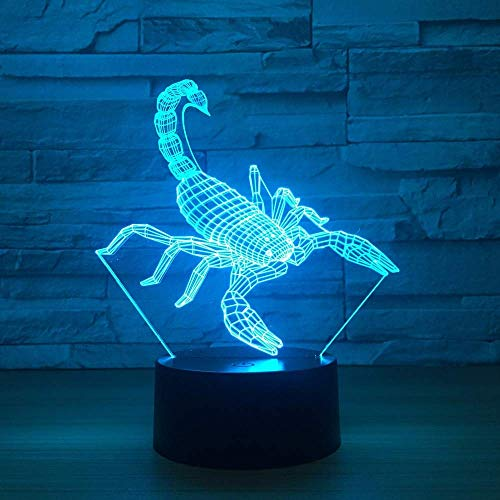 Zjcpow Scorpion 3D Table Lamp Kids Toy Gift LED W Home Decoration Atmosphere LED t Light USB LED Unique Special Decoration Light for xuwuhz