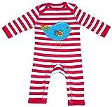 HARIZ Baby Strampler Streifen Vogel Niedlich Tiere Kindergarten Plus Geschenkkarten Feuerwehr Rot/Washed Weiß 12-18 Monate