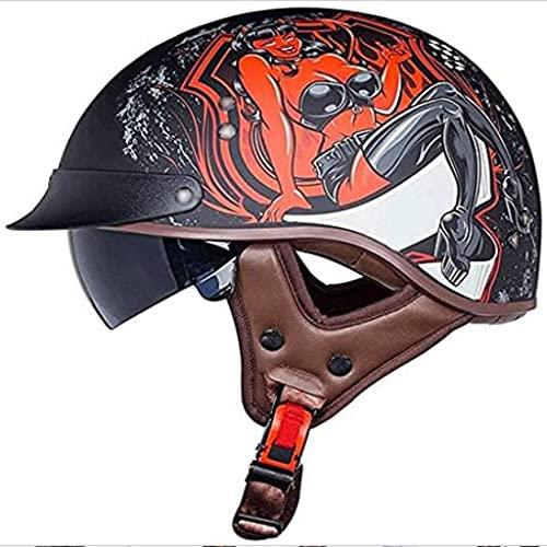 ZLYJ Certificado ECE Medio Casco de Motocicleta Respirable Casco Abierto Medio Casco Retro Toda la Temporada Mujer y Hombre Protectora Casco por Ciclomotor Equitación Motocross Ciclomotor