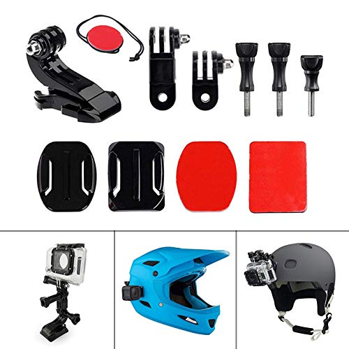 Wellouis Motorbike Helmet Mount Front+Side Kit with J-Hook Clasp Quick Clip Set for Gopro Hero 7 6 5 4