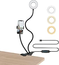 FAIRY FANTASY Selfie Ring Light 360° Rotating Phone Stand and Desk Clamp LED Light,for Live Stream/Makeup/Photography/YouT...