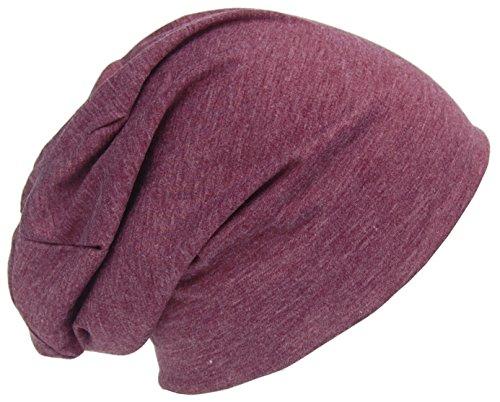 Cool4 Sommer Jersey Beanie Baumwolle meliert Slouch Chemo Unisex Mütze Cap A29 (Aubergine)