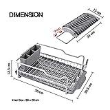 Kingrack abtropfgestell, geschirrabtropfgestell aluminium, geschirrablage mit erweiterbarem geschirrkorb für spüle,becherhalter,Besteckhalterkorb,geschirrabtropfer Anti-Rost für küche arbeitsplatte - 6