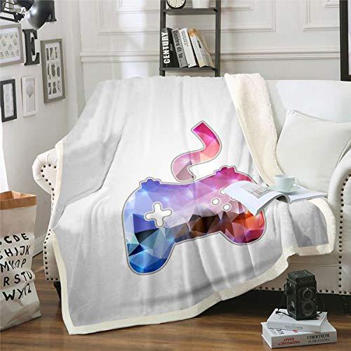 Homemissing Manta de felpa moderna de Gamer para niños, niñas, videojuegos, Gamepad, Sherpa, diseño geométrico de diamantes, manta para sofá cama, individual de 127 x 152 cm