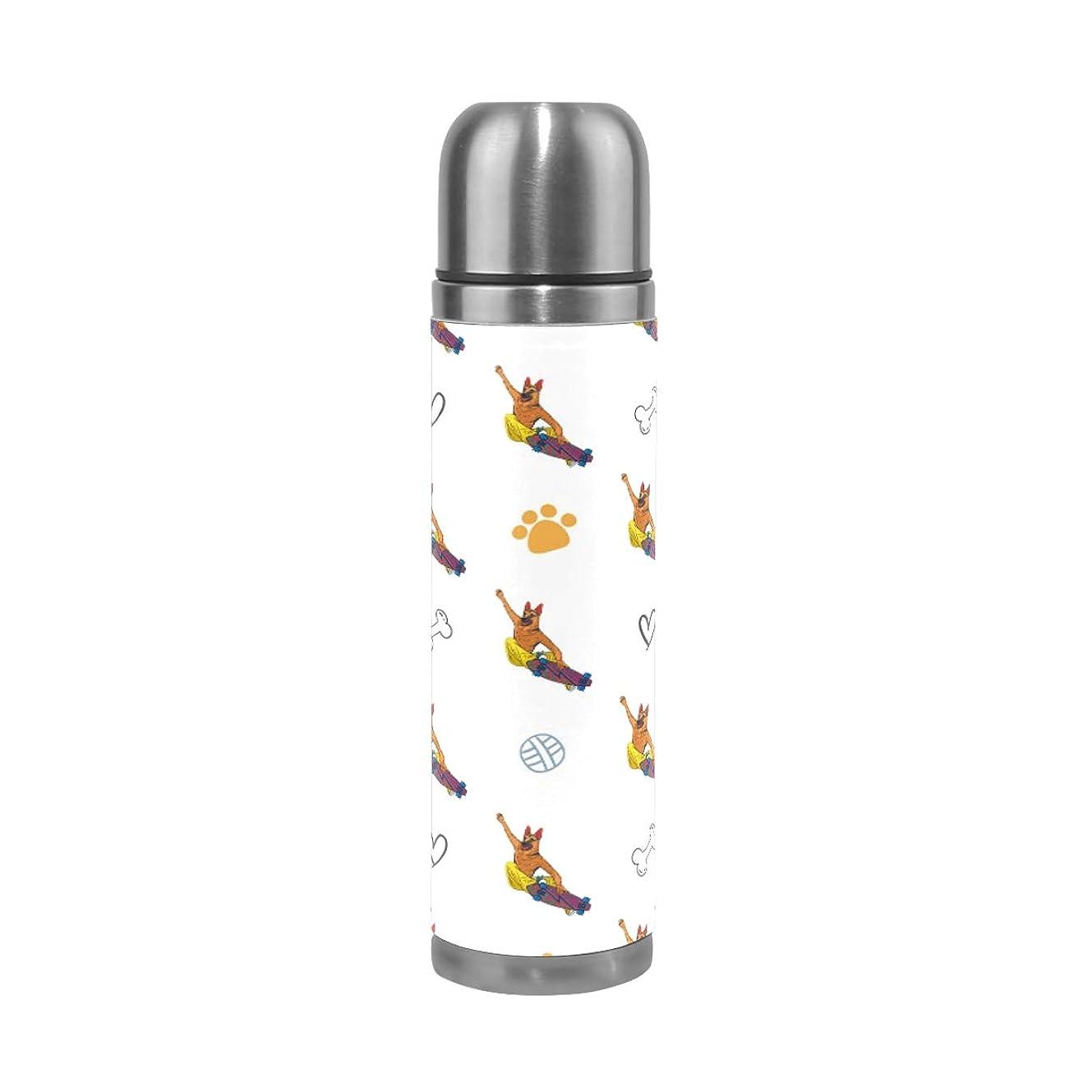何十人も死にかけているラベル水筒 本革 ステンレスボトルコップタイプ 保温 保冷 直飲み 真空断熱ケータイマグ スポーツボトル くは ドイツの羊飼い犬柄 [並行輸入品]