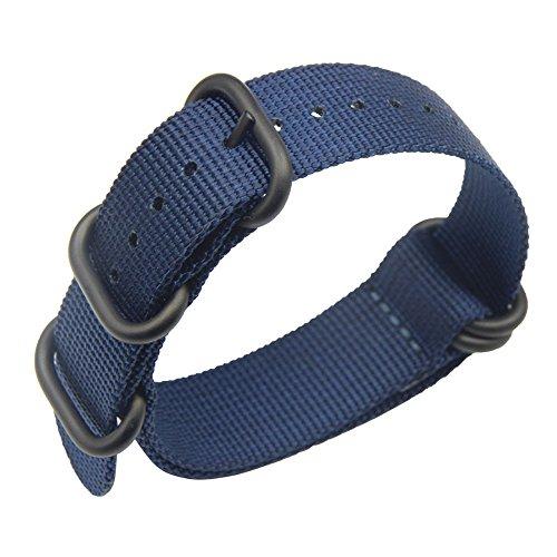 AUTULET Royalblue lujo exquisito Bandas Onepiece OTAN Nylon Estilo de perlón correas de reloj textiles para Azul 20mm