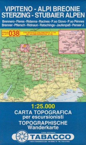 Sterzing, Stubaier Alpen: Wanderkarte Tabacco 038. 1:25000 (CARTES TOPOGRAHIQ - 1/25.000)