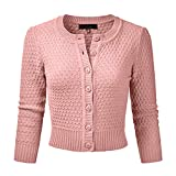 Vertvie Bolero para mujer, chaqueta de punto corta de manga 3/4, elegante, cuello redondo, chaleco de punto con botón rosa claro L