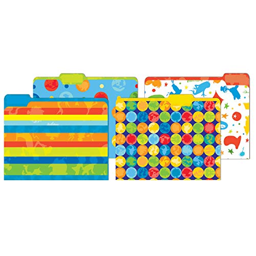 Eureka Multicolored Dr. Seuss Back to School File Folders for Students and Teachers, 9'' x 11.5'', 4 pc