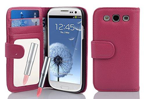 Cadorabo Custodia per Samsung Galaxy S3 / S3 Neo Custodia di Libro di Finta-Pelle Specchio in Deep Pink – con Vani di Carte Funzione Stand e Specchio – Portafoglio Cover Case Wallet Book Etui
