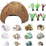 Hermit Crab Shells Natural Coconut Shell Hut Artificial Plants 19 PCS Decoration Supplies House Tank