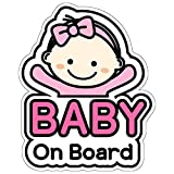 BSL Baby on Board Sticker and Decal for Girl - Baby Bumper Car Sticker - Baby Window Car Sticker - Baby in Car Sticker - Cute Safety Caution Decal Sign for Cars