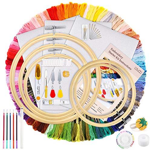 Caydo 206 Stück Stickerei Set, Stickerei Starter kit, Kreuzstich Tool Kit mit Anleitung, 100-Farben-Fäden, 40 Nähnadeln, 3-teiligem Aida-Stoff, Stickrahmen für Erwachsene und Anfänger