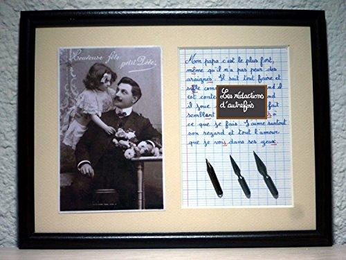 Tableau humoristique sur le papa avec photo ancienne et texte écrit à la plume