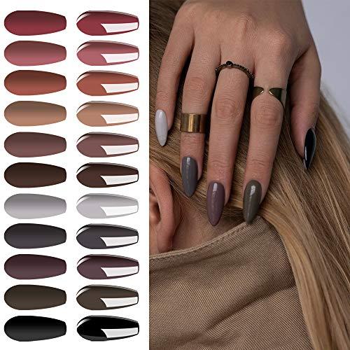 Lot de Vernis Semi permanent Vernis à Ongles 12 Couleurs Nu Gris Gel UV LED Soak Off Manicure Ongle Classique Nail Art 8ml