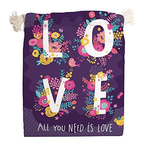 Usting Pull touw receptacle tas, trek touw stofdichte cover tas, handtas voor kleine artikelen opslag, Alles wat je nodig hebt is liefde concept kaart