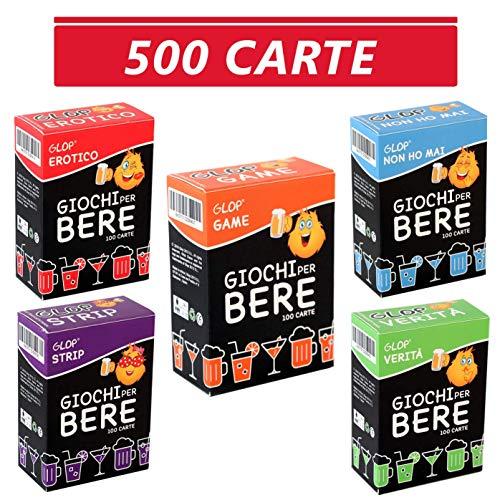 Glop 500 Carte - Giochi per Bere - Giochi Alcolici per Feste - Giochi da Tavolo per Adulti - Dinking Game