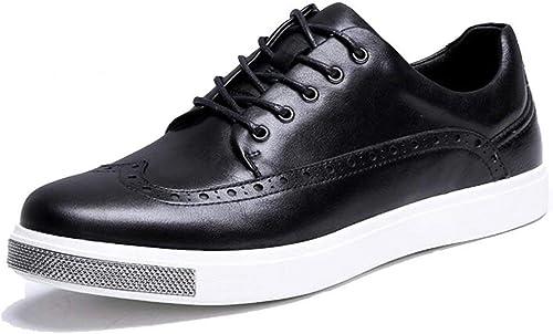 JIUJIUYITECH Chaussures de Loisirs for Hommes paniers en Cuir PU Noir Chaussures légères à Lacets Chaussures Homme élégant