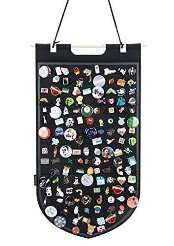 Hanging Brooch Pin Storage Organizer, Pin Wall Display Banner for Display Pins, Buttons and Lapel Collections, Brooch Pin Collection Storage Holder Holds Up to 141 Pins.(Black)