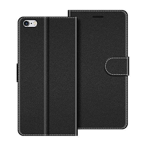 COODIO Funda iPhone 6S con Tapa, Funda Movil iPhone 6S, Funda Libro iPhone 6 Carcasa Magnético Funda para iPhone 6S / iPhone 6, Negro