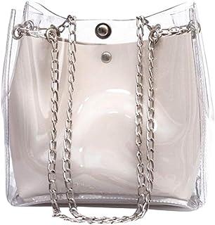 Wultia - Women Small Bucket Bags Plastic Transparent Totes Composite Chain Bag Female Mini Jelly Handbags Bolsa Feminina White