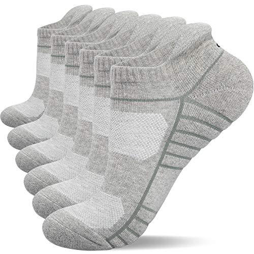 Lapulas Athletic Ankle Socks, Low Cut Cushioned Running Tab Sports Socks for Men and Women 6Pairs (Gray, L)