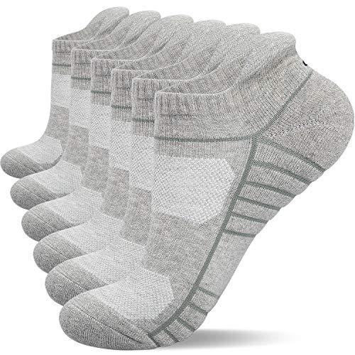 anqier 6 Paar Sneaker Socken Herren Damen Gepolsterte Laufsocken Socken Damen Atmungsaktiv Baumwolle Sportsocken , L (43-47 EU)