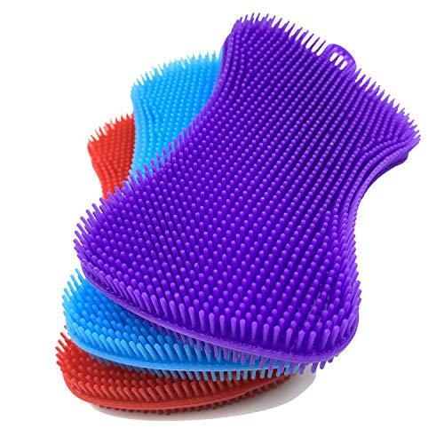 Paquete de 3 esponjas de silicona, esponjas de limpieza, estropajo para platos, frutas, verduras, esponjas de silicona para utensilios de cocina y accesorios de cepillo