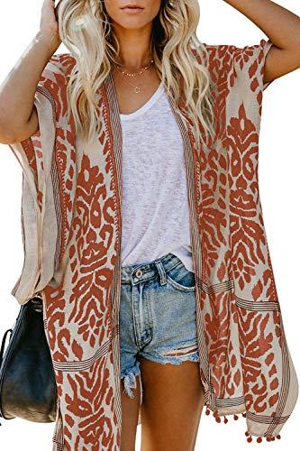 Sidefeel Women Print Pom Pom Tassel Kimono Beach Cover Up Cardigan Top One Size Orange