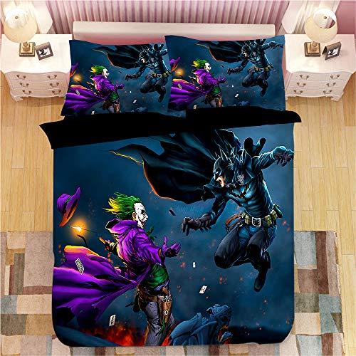 ZI TENG 3D New The Joker Duvet Cover Cartoon Movie Clown Bedding Set 100% Microfiber Kids Stuedent Bed Set 3PC1 Duvet Cover 2 Pillowcase Twin Full Queen King Size