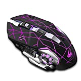 Wireless Charging Gaming Mouse, Silent Luminous Mechanical Mouse, with USB Receiver, Suitable for PC, Tablet, Laptop (Star-Black)