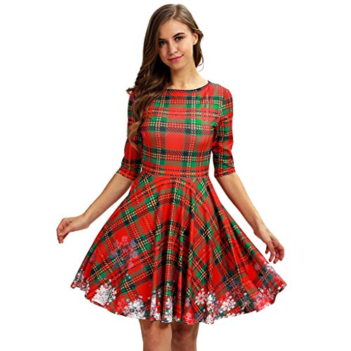 CHMORA Mädchen/Kinder Kleid, niedliches Kleid mit mittleren Ärmeln, Weihnachten,...