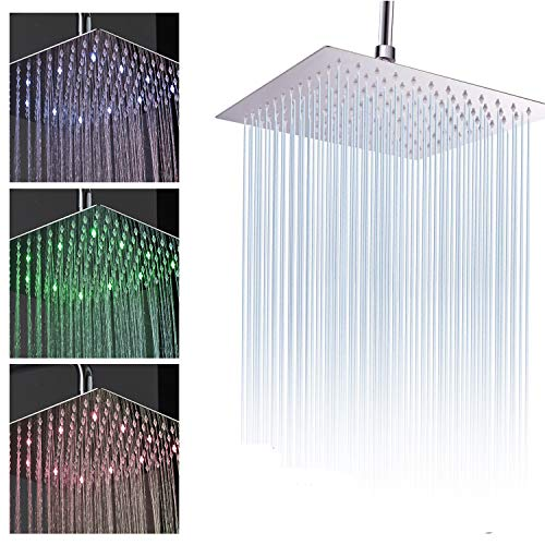 Fyeer 8 Inch LED Fixed Rainfall Shower Head, Ultra-thin Wall/Ceiling Mounted Square Shower Head 304 Stainless Steel Chrome Polished Finish, Temperature Sensor 3 Colors Changing