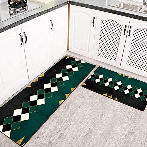 OPLJ Alfombras de Cocina largas geométricas Creativas Estilo Verde Negro Sala de Estar Alfombra de la Puerta del Piso Alfombras Antideslizantes para la cabecera del Dormitorio A1 40x120cm