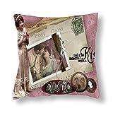 perfecone Funda de almohada de algodón para decoración del hogar, diseño victoriano de letras románticas de amor para sofá y coche, 1 paquete de 17,7 x 17,7 pulgadas / 45 cm x 45 cm