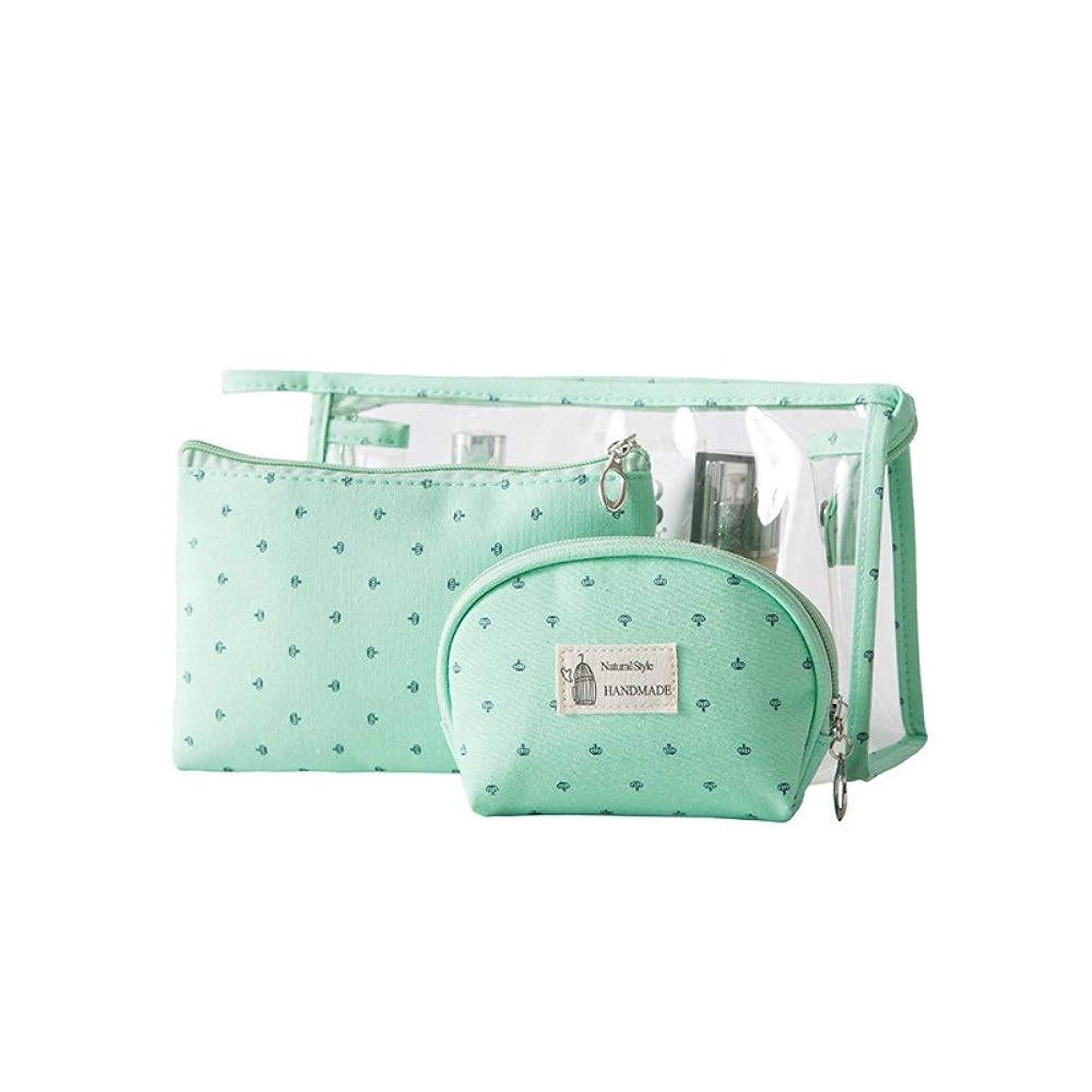 従順ウェイド改善旅行オーガナイザー 無地旅行男性と女性透明PVC化粧品袋3個セット屋外旅行ウォッシュバッグ財布 (Color : Green, Size : Free size)