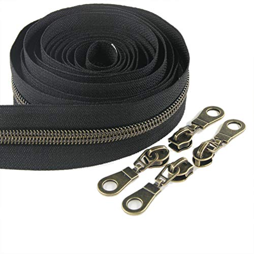 #5 Antique Brass Metallic Nylon Coil Zippers by The Yard Bulk 10 Yards Black Tape with 25pcs Brass Sliders for DIY Sewing Tailor Craft Bag Leekayer(Black)