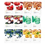 PF 79 Natural Facial Mask Sheet Variety Pack Featuring 6 Different Hydrating Full Face Masks, for Daily Skin Care Variety Pack, Moisturizing, Brightening, Soothing care