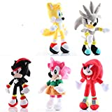 YUNMEI Sonic el Erizo 5 Unids/Lote Sonic Toys 25-30cm Sonic Shadow Amy Rose Knuckles Tails Plush Toy...