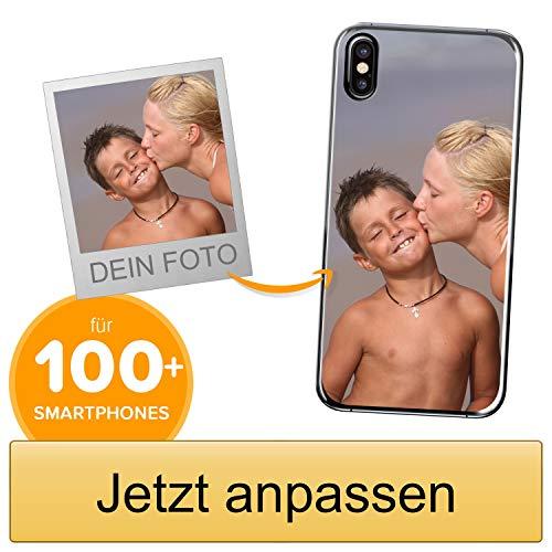 Coverpersonalizzate.it Handyhülle für Apple iPhone X mit Foto-, Bildern- oder Text selbst gestalten- Die Handyhülle ist aus weichem transparentem TPU-Silikon-Gel Material