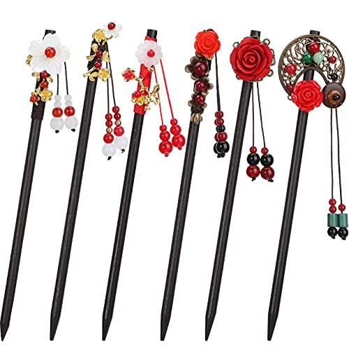 6 Pieces Chinese Wood Hair Sticks Japanese Vintage Tassel Hair Chopsticks Retro Flower Hairpins Handmade Wooden Hair Pins Classic Hair Accessories for Women Girls Long Curly Hair